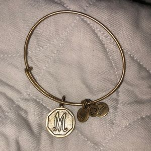 M initial Alex and Ani bracelet gold